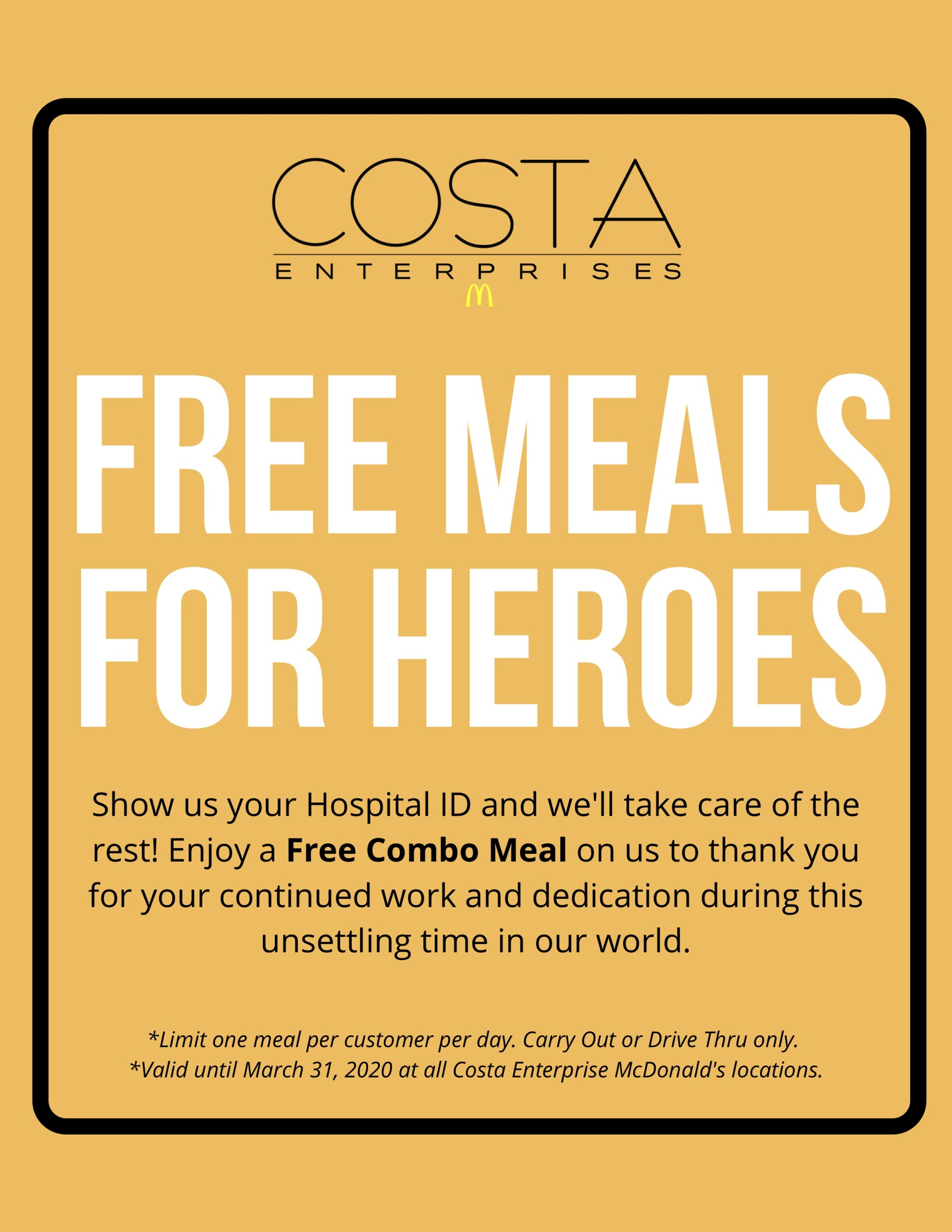 costa enterprises mcdonald s offers free meals for hospital employees in northwest florida proffitt pr reaching your target market free meals for hospital employees